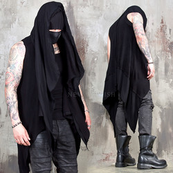 Avant-garde asymmetric sleeveless hooded cardigan