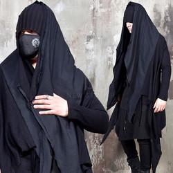 Asymmetric contrast hood shawl cardigan