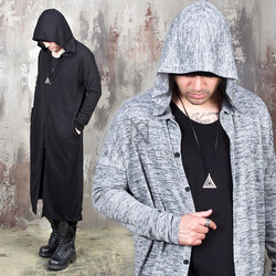 Side opening long hooded cardigan