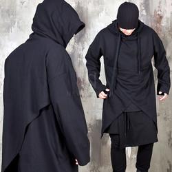 Unbalanced cross hem long hoodie