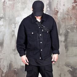 Black trucker denim jacket - 350