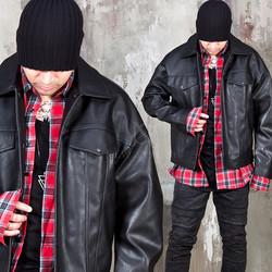 Vintage trucker leather jacket