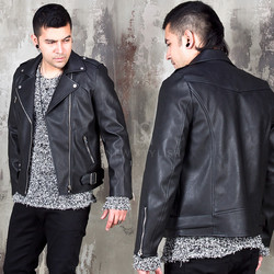 Basic leather rider jacket