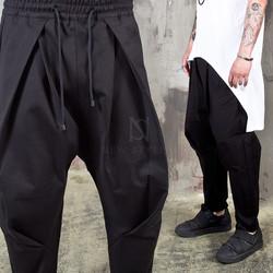 Big wrinkle black harem pants