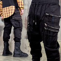 Triple zipper pocket jogger pants