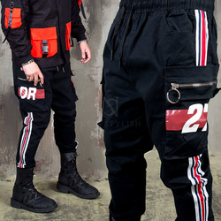 Contrast side lined cargo jogger pants - 268