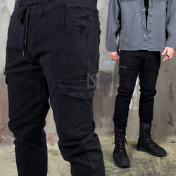 Zippered cargo black slim banding pants