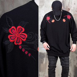 Luxurious flower embroidered sweatshirts