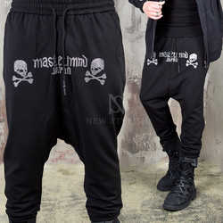 Stud cubic skull baggy sweatpants