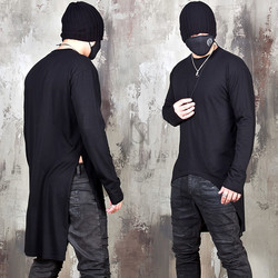 Unbalanced round hem long sleeve t-shirts
