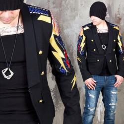 Lightning pattern embroidery slim blazer