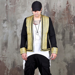 Gold line contrast open blazer