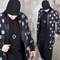 Black collar big dot long cardigan