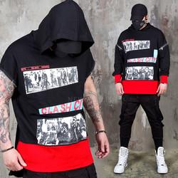 Detachable sleeve patchwork hoodie