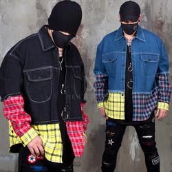 Colorful checkered shirts layered denim jacket