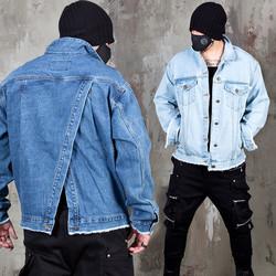 Asymmetric back opening denim jacket