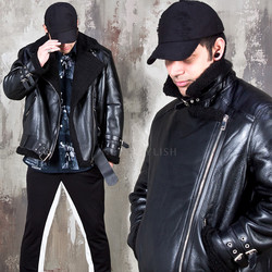 Belted double faced rider leather jacket