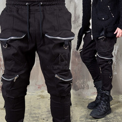 D-ring 4 zippered big pocket banding pants