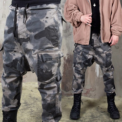 Washed camouflage banding baggy pants