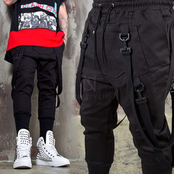 Buckle strap black banding pants