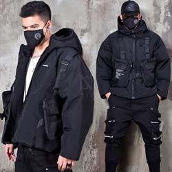 Techwear vest included hood parka