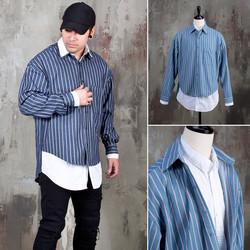 Double layered denim stripe shirts