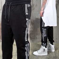 Side line printed black sweatpants