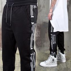 Side line printed black sweatpants