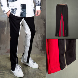 Contrast zippered hem sweatpants