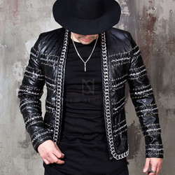 Multiple silver chain leather blazer
