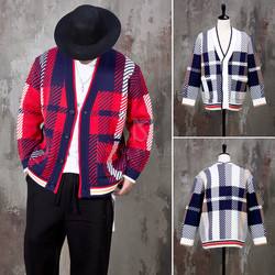 Contrast checkered pattern knit cardigan