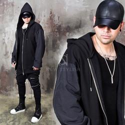 Contrast padded sleeve zip-up hoodie