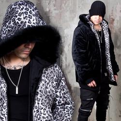 Reversible leopard fur hooded zip-up jacket