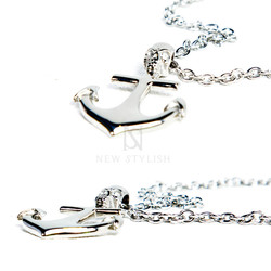 Skull anchor charm chain necklace