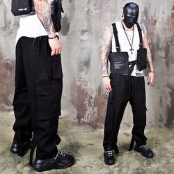 Belted hem wide fit cargo banding pants