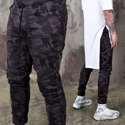 Camouflage slim banding biker pants