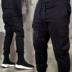 Plain cargo pocket jogger pants