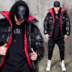 Contrast lining glossy duckdown padded parka
