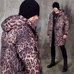 Leopard pattenred padded parka