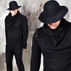 Black knit shirring turtle neck shirts