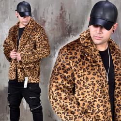 Leopard boxy fur blazer