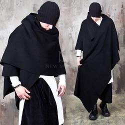 Avant-garde one sleeve cape poncho cardigan