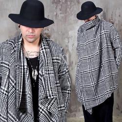 Tartan plaid asymmetric draping shawl cardigan