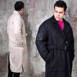 Oversized belted wool long coat