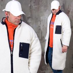Reversible fleece long zip-up coat