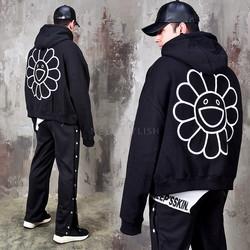 Unique emoji printed extra long sleeve hoodie