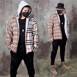 Checkered hooded beige zip-up jacket