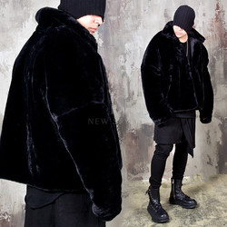 Extra long sleeve oversized black fur jacket