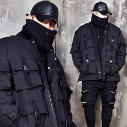 Belted 4 pocket techwear zip-up jacket