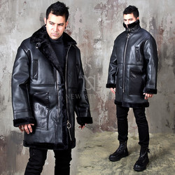 Double faced fur lined leather coat